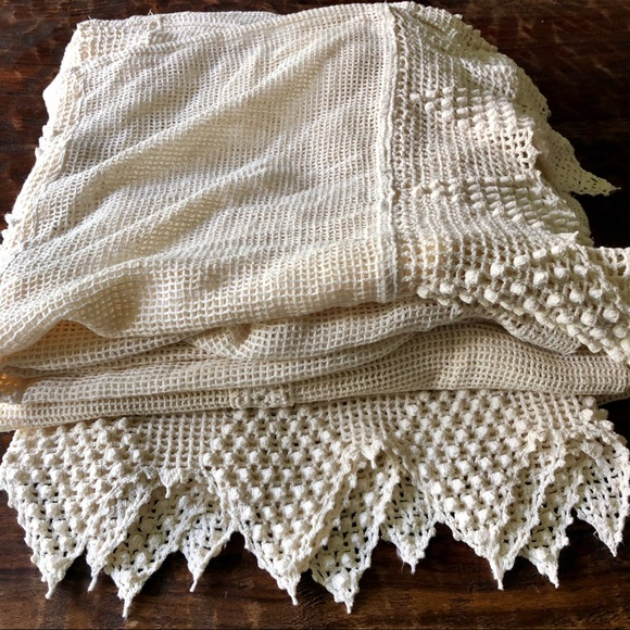 Vintage Other - Vintage bohemian crocheted lace curtains two panel